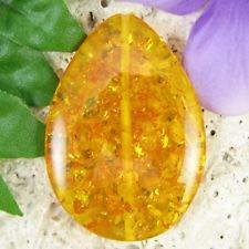 48mm Synthetic Amber Flat Teardrop Pendant L/D