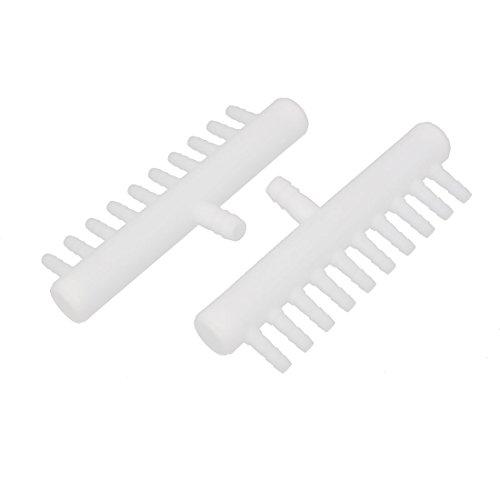 uxcell Plastic Fish Tank 10 Way Air Flow Control Oxygen Splitter Lever Valve 2pcs White
