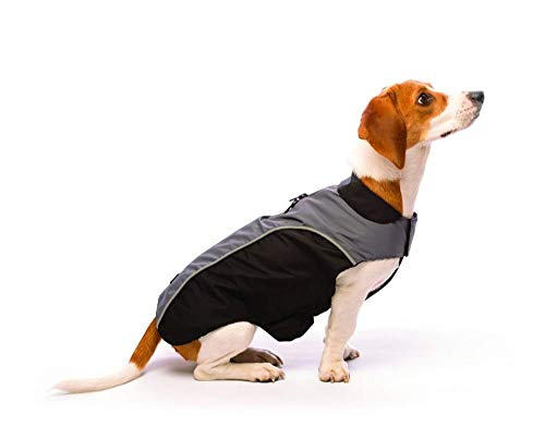 Dog Gone Smart All-Season Nanobreaker Coat Jacket, Black with Grey, 18