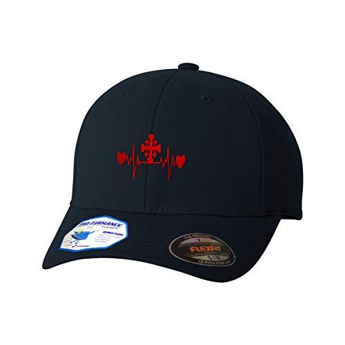 Flexfit Hats for Men & Women Jerusalem Cross Lifeline Embroidery Polyester Dad Hat Baseball Cap Dark Navy SmallMedium