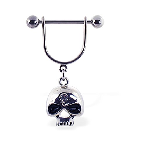 MsPiercing Nipple Ring With Dangling Skull With Gem