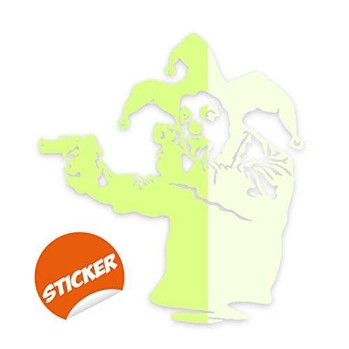 Glow in Dark Night Banksy Vinyl Wall Decal Joker Clown with Guns - Glowing Realistic Jester Pistols Showing Tong - Luminescent Light Ghost