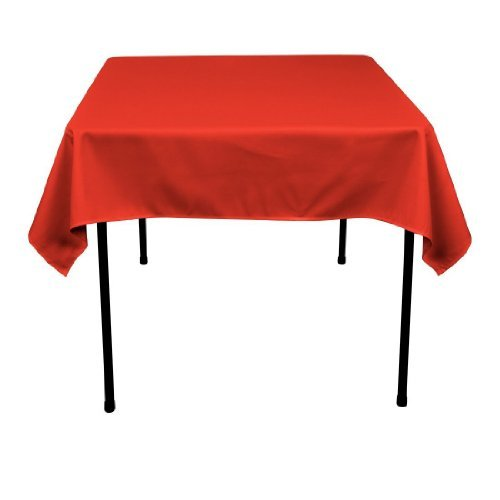 LinenTablecloth 54-Inch Square Polyester Tablecloth Red (Red Table Clothes)