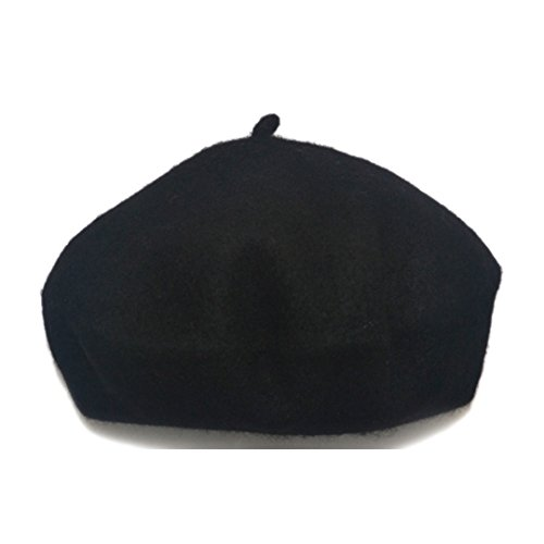 YAOSEN Classic Wool Beret Soild Color Artist Hat for Infants and Toddlers (Black)
