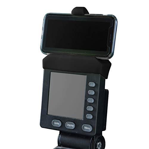 Phone Holder Made for Concept 2 Rowing Machine, SkiErg and BikeErg - Silicone Fitness Products (Black)