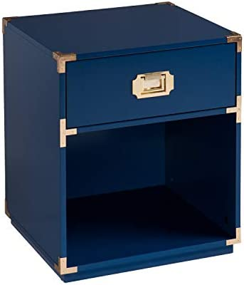 SEI Furniture Campaign Tall Storage, Side Table, Navy