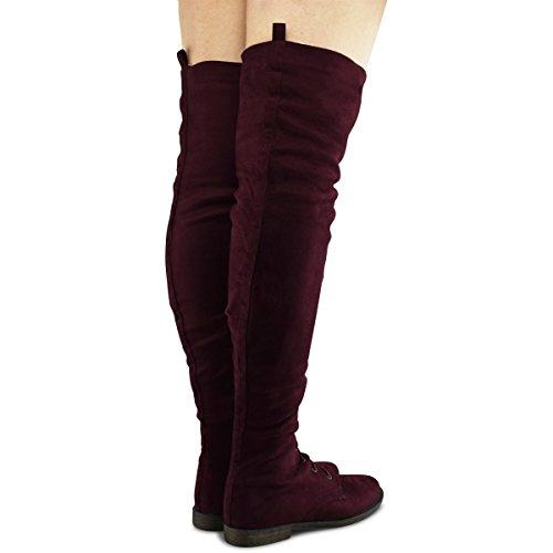 Premier Standard Damen Lace-Overknee-Overknee-Stiefel - Seitlicher Reißverschluss Comfy Vegan Suede Premier Wein