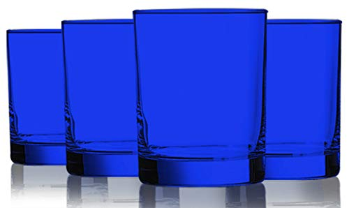 - Cobalt Blue Colored Beverage Aristocrat Double Old Fashioned Glasses - 14 oz. set of 4- Additional Vibrant Colors Available