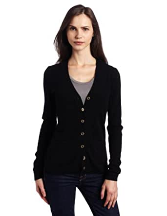 Christopher Fischer Women's 100% Cashmere Long Sleeve Solid V-Neck Cardigan With Gold Buttons, Black, Small