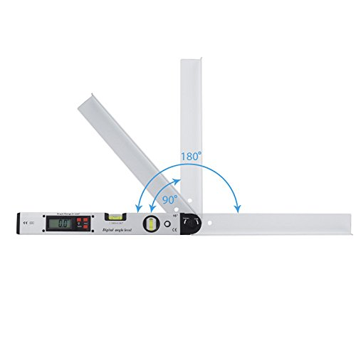 AUTOUTLET Digital Inclinometer Protractor 0~225 LCD Backlight Spirit Level Angle Finder Ruler Gauge Meter Tool 400mm/16 inch for Vertical Horizontal Measuring