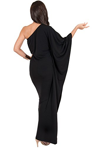 Long Womens Cocktail Black One Shoulder Evening Semi KOH Dress Sexy KOH Maxi Formal wA4xEqB