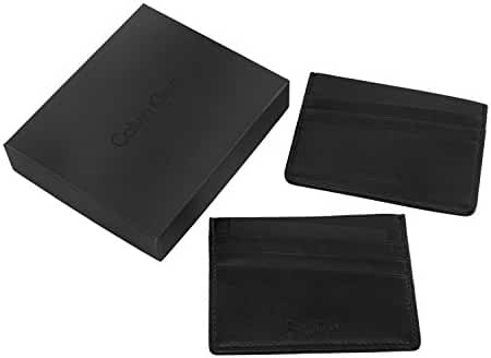 Wallet man CALVIN KLEIN black leather pocket cards holder MADE IN ITALY A5180