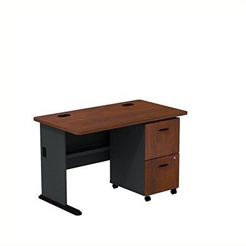 Bush Business Furniture Series A Hansen Cherry/Galaxy 48W Desk with 2-Drawer Mobile Pedestal