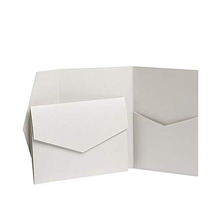 Pocketfold Invites, biglietti di invito, argento pallido perlato, di Pocketfold Invites LTD, 130 x 185 mm Silver