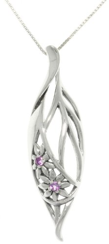 Jewelry Trends Sterling Silver Elegant Flowers Teardrop with Amethyst Pendant on 18 Inch Chain Necklace