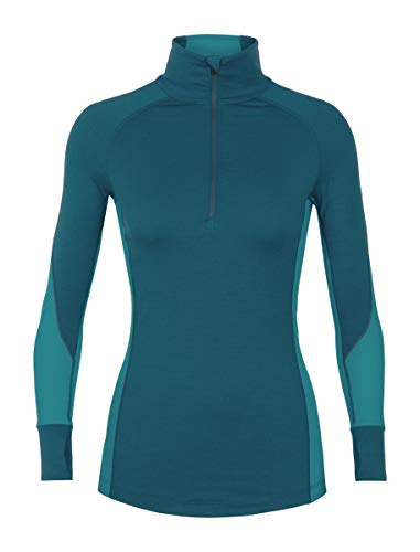 Icebreaker Merino Women's 260 Zone Long Sleeve Half Zip Base Layer Tops, Small, Kingfisher/Arctic Teal/Prism