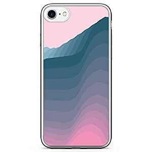 iPhone 8 Transparent Edge Phone case Waves Phones Case Blue Hue iPhone 8 Cover with Transparent Bumper