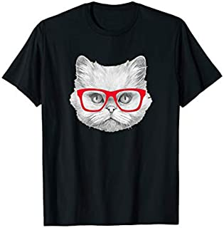 Red glasses Cat Lover  Cat Gifts For Cat lovers T-shirt | Size S - 5XL