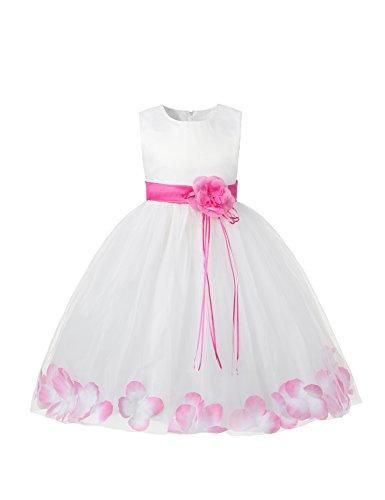 Little Girl Tutu Flower Petals Bow Dress Chiffon Princess Dresses for Wedding Party(5 Years,Pink)