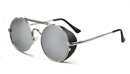 Steam Punk Polarized Sunglasses Personality Wind Screen Round - India Online Sunglasses Police