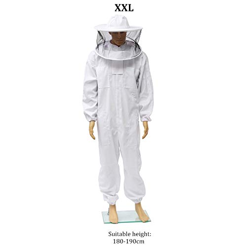 Beekeeping/Bee Keeping Suit, White Jacket, Pull Over, Smock with a Veil(XXL)