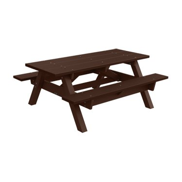 6' Recycled Plastic Traditional Picnic Table - Brown - Brown Frame