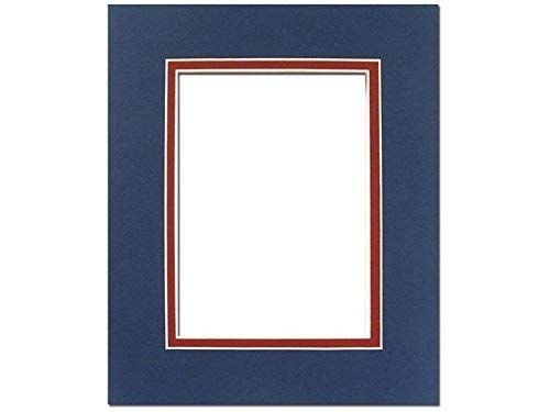 PA Framing Double Photo Mat Board, Pre-Cut Framing Mat - Cream Core, Bottle Blue/Deep Red, 8