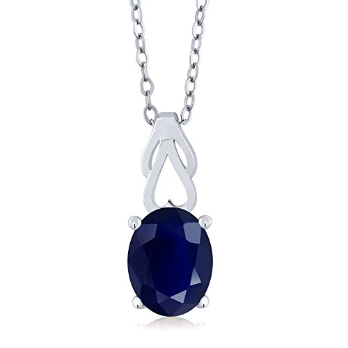 - 5.00 Ct Oval Blue Sapphire 925 Sterling Silver Pendant With Chain