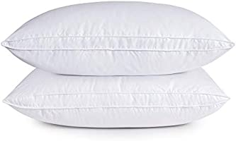puredown Natural Goose Down Feather White Pillow Inserts, 100% Egyptian Cotton Fabric Cover Bed Pillows, Set of 2