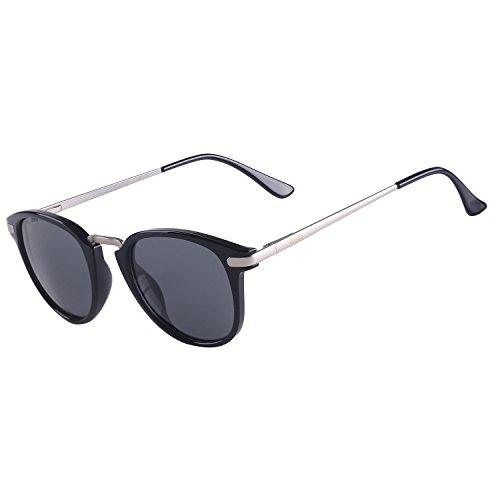 ULLERES Retro Fashion Polarized Sunglasses for Men Women UV Protection (Black Wayfarer Sunglasses, ()
