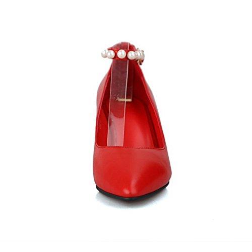 Amoonyfashion Mujeres Hebilla Puntiaguda Puntas Cerradas Del Dedo Del Pie Stilettos Material Mezclado Bombas Sólidas Zapatos Rojo