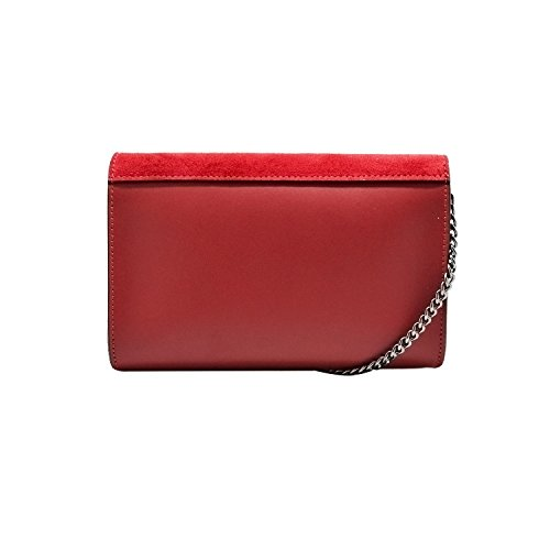 bag and Baugette Clutch smooth suede with mini leather Italian chain body wallet RONDA Red clutch stiff nickel cross 6H0aqWBw