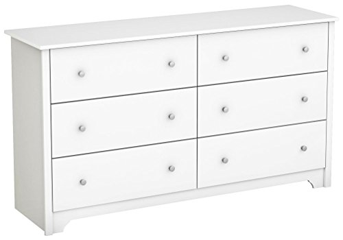 (South Shore Vito Collection 6-Drawer Double Dresser, Pure White with Matte Nickel Handles)