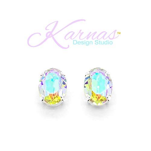 LA BELLE ÉPOQUE Pink Powder Puff 18X13mm Stud or Drop Earrings Swarovski Crystal *Choose Your Finish *Karnas Design ()