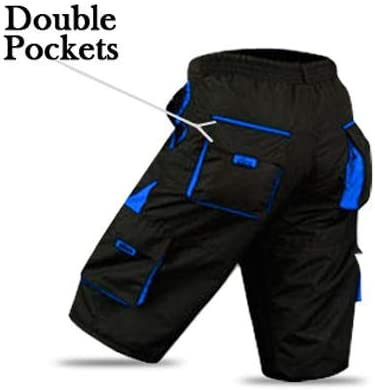 detachable Inner Lining Large Free Style Adult Size -Black//Blue ROXX Cycling MTB Shorts Coolmax Padded