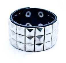 Studded Wristband Pyramid - Triple Silver Studded Wristband Punk Rock