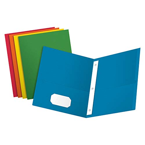 Oxford Two-Pocket Folders w/Fasteners, Assorted Colors ,Letter Size, 25 per box (57713)