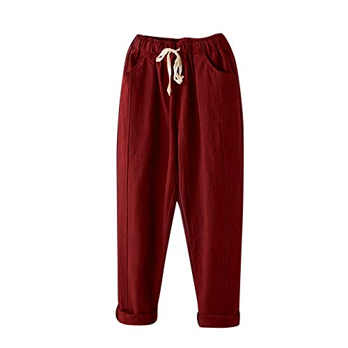 Gillberry Women's Linen Pants Lantern Tapered Elastic Waist Cropped Pants Trousers with Pockets Casual Capri Pants -