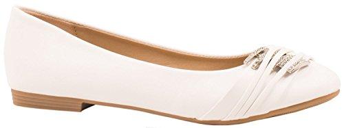 Elara Damen Ballerinas | Bequeme Lederoptik Flats | Freizeitschuhe | chunkyrayan Weiss Marseille