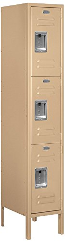Salsbury Industries 63155TN-U Triple Tier 12-Inch Wide 5-Feet High 15-Inch Deep Unassembled Standard Metal Locker, Tan ()