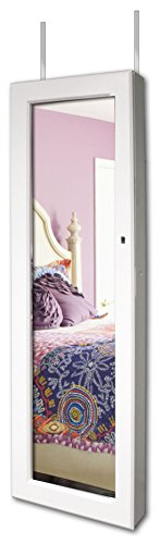 New View Over the Door White Jewelry Cabinet w/ LED Lights, Full Mirror and Lock (01-00-71711) by NEW VIEW