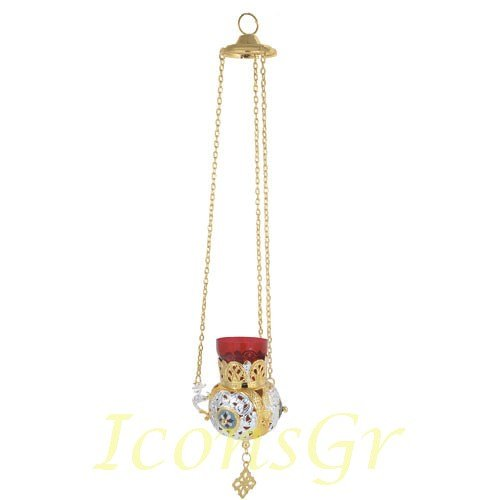 Gold Plated Orthodox Greek Christian Bronze Hanging Votive Vigil Oil Lamp with Chain and Red Glass - 9686gs by Iconsgr