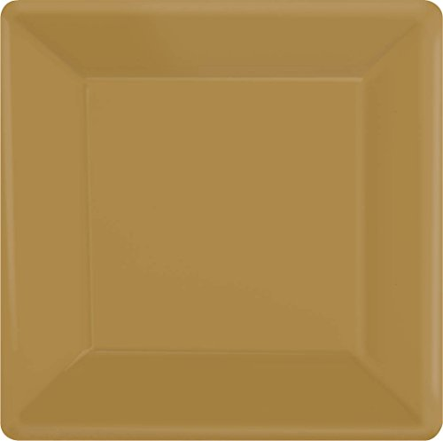 Amscan Disposable Party Square Dessert Plates (20 Pack), Gold, 7.25 x 7.25