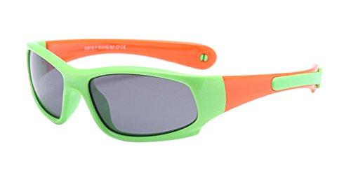 KINDOYO Enfants Lunettes de Soleil Polarisées pour Garçons Filles Monture en caoutchouc flexible Sport Lunettes Vert/Orange