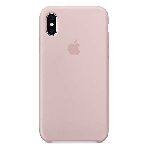 (Anti-Drop iPhone X/10 (5.8Inch) Liquid Silicone Gel Case, TOSHIELD Soft Microfiber Cloth Lining Cushion for iPhone 10 (Pink Sand))