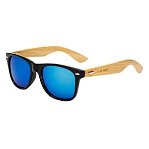 Long Keeper Bamboo Wood Arms Sunglasses for Women Men (Black, Blue)