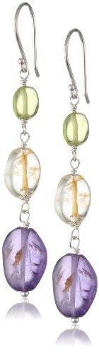 Sterling Silver Amethyst, Citrine, and Peridot Beads Drop (Citrine Peridot Earrings)