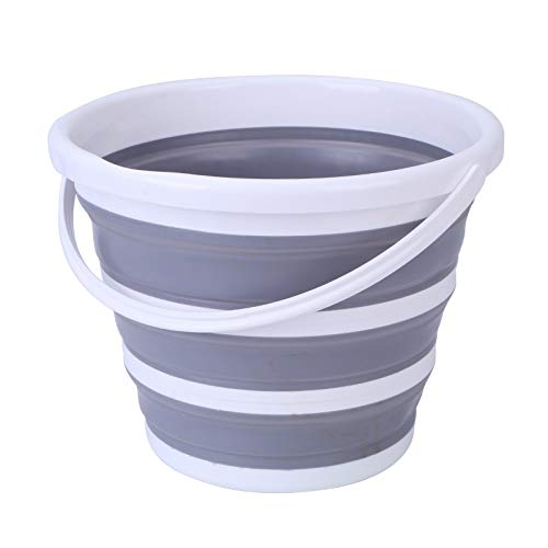 Muziwenju Foldable 10L Bucket Drain Basket Set Household Kitchen Washing Basket Plastic Portable Fishing Bath Portable (Color : White ash Sink+Gray Bucket)