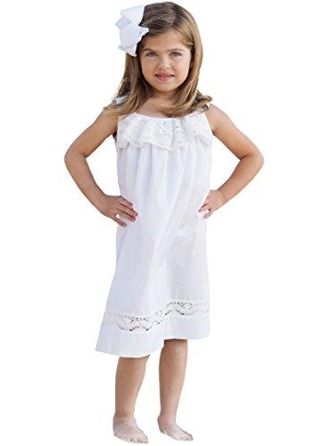 Strasburg Children Girls' Lace Beach Summer Dress Flower Girl White (8) ()