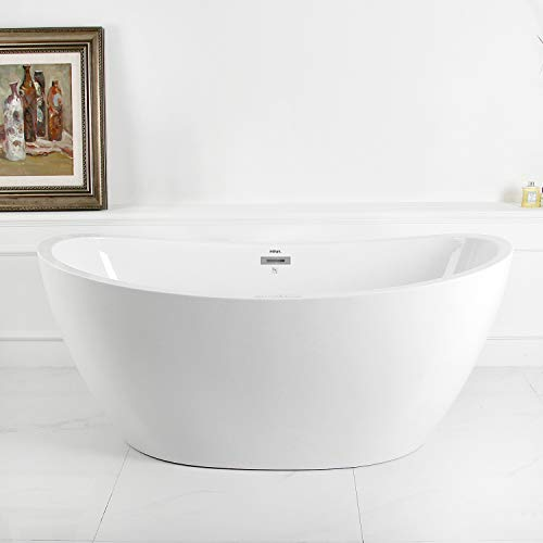 FerdY Acrylic Freestanding bathtub Soaking Bathtub, White Modern Stand Alone bathtub, Easy to Install, cUPC Certified, Drain & Overflow Assembly Included (59